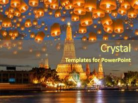 <b>Crystal</b> PowerPoint template with lamp in yee peng festival themed background and a tawny brown colored foreground design featuring a [design description].