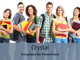 PPT theme having large group of smiling students background and a seafoam green colored foreground.