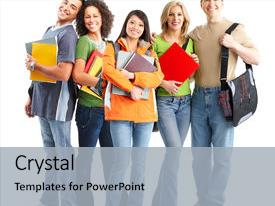 <b>Crystal</b> PowerPoint template with large group of smiling students themed background and a light gray colored foreground design featuring a [design description].