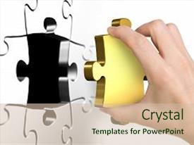 <b>Crystal</b> PowerPoint template with last missing golden puzzle piece themed background and a soft green colored foreground design featuring a [design description].