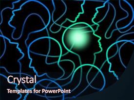 powerpoint template: the inner view of a human head with a figure, Modern powerpoint