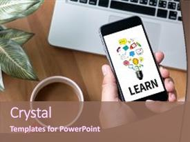 <b>Crystal</b> PowerPoint template with learn learning education knowledge themed background and a violet colored foreground design featuring a [design description].