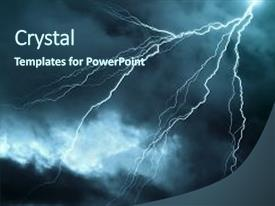 Lightning powerpoint templates crystalgraphics ppt layouts consisting of a dark cloudy sky background and a ocean toneelgroepblik Gallery