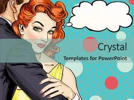 Pop art powerpoint templates crystalgraphics crystal powerpoint template with love couple pop art couple themed background and a light blue colored toneelgroepblik Image collections