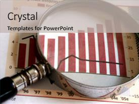 <b>Crystal</b> PowerPoint template with magnifying glass focusing themed background and a light gray colored foreground design featuring a [design description].