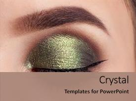 Eye powerpoint templates crystalgraphics slide set enhanced with make up of woman eye theme and a coral colored foreground toneelgroepblik Choice Image