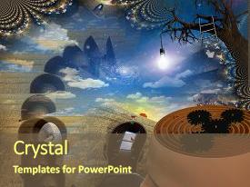 <b>Crystal</b> PowerPoint template with mans head reveals maze themed background and a tawny brown colored foreground design featuring a [design description].