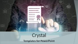 <b>Crystal</b> PowerPoint template with many different online service themed background and a light blue colored foreground design featuring a [design description].