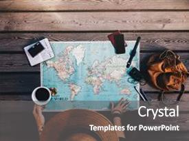 Colorful PPT layouts enhanced with map compass and other travel backdrop and a gray colored foreground.