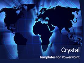Cool new slide deck enhanced with map of the world theme and a navy blue colored foreground.