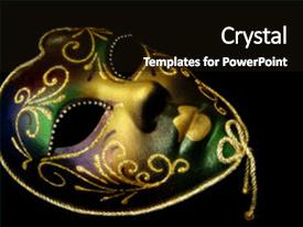 powerpoint template: unique beaded carnival masks on maroon fabric, Powerpoint templates