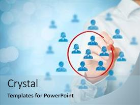 Presentation theme consisting of marketing segmentation target market target background and a light blue colored foreground.
