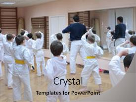 Martial arts powerpoint templates crystalgraphics crystal powerpoint template with martial arts karate boys training in sport themed background and a toneelgroepblik Image collections