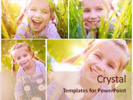 <b>Crystal</b> PowerPoint template with meadow in spring day collage themed background and a lemonade colored foreground design featuring a [design description].