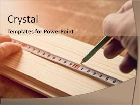 Measurement powerpoint templates crystalgraphics carpenter measuring wooden board with image and a coral toneelgroepblik Choice Image