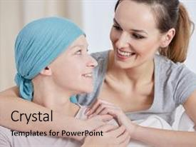 <b>Crystal</b> PowerPoint template with medical - hopeful cancer woman wearing headscarf themed background and a mint green colored foreground design featuring a [design description].