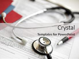 Medical records powerpoint templates crystalgraphics crystal powerpoint template with medical records and stethoscope themed background and a light gray colored foreground toneelgroepblik Gallery
