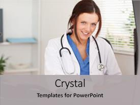 Medical records powerpoint templates crystalgraphics crystal powerpoint template with medical records smiling female doctor is typing themed background and a toneelgroepblik Gallery