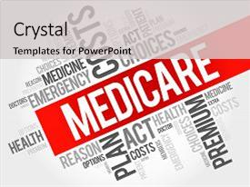 <b>Crystal</b> PowerPoint template with medicare word cloud collage health themed background and a light gray colored foreground design featuring a [design description].