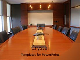 <b>Crystal</b> PowerPoint template with meeting or board room themed background and a red colored foreground design featuring a [design description].
