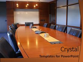 <b>Crystal</b> PowerPoint template with meeting room with chairs themed background and a red colored foreground design featuring a [design description].
