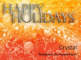 <b>Crystal</b> PowerPoint template with merry christmas seasons greetings happy themed background and a coral colored foreground design featuring a [design description].