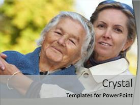 Elderly care powerpoint templates crystalgraphics slides featuring middleaged woman with her elderly background and a light gray colored foreground toneelgroepblik Choice Image