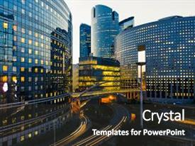 Architecture powerpoint templates crystalgraphics crystal powerpoint template with architecture modern buildings in paris business themed background and a dark toneelgroepblik Image collections