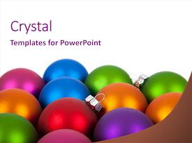 <b>Crystal</b> PowerPoint template with multi-colored christmas ornaments baubles themed background and a pink colored foreground design featuring a [design description].