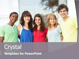 Multi cultural powerpoint templates crystalgraphics crystal powerpoint template with multi cultural group of teenage students standing themed background and a toneelgroepblik Images