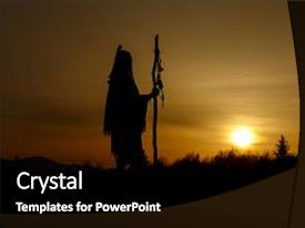 Nativity powerpoint templates crystalgraphics slide set enhanced with nativity silhouette of native american shaman theme and a black colored toneelgroepblik Choice Image