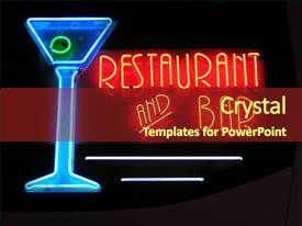Bar restaurant powerpoint templates crystalgraphics crystal powerpoint template with neon sign advertising a restaurant themed background and a tawny brown colored toneelgroepblik Images