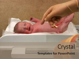 Cool new slide set with new born baby being weighed backdrop and a coral colored foreground.