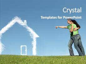 <b>Crystal</b> PowerPoint template with new home or dream house themed background and a teal colored foreground design featuring a [design description].