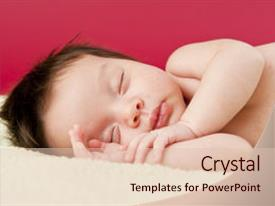 Audience pleasing slides consisting of newborn baby eyes closed sleeping backdrop and a lemonade colored foreground.