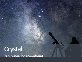 Telescope powerpoint templates crystalgraphics crystal powerpoint template with telescope night sky milky way galaxy themed background and a dark toneelgroepblik Choice Image