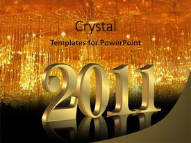 Beautiful presentation theme featuring numbers 2011 for new year backdrop and a gold colored foreground.