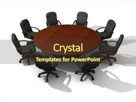Presentation design enhanced with office chairs and round table  background and a tawny brown colored foreground.