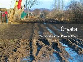 <b>Crystal</b> PowerPoint template with offroad impassable travel countryside puddle themed background and a dark gray colored foreground design featuring a [design description].