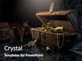 Pirate powerpoint templates crystalgraphics ppt theme having cave old pirate s chest background and a black colored foreground toneelgroepblik Choice Image