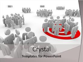 Audience pleasing presentation theme consisting of one group is targeted backdrop and a light gray colored foreground.