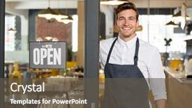 Beautiful PPT theme featuring coffee smile - owner standing at his restaurant backdrop and a dark gray colored foreground.