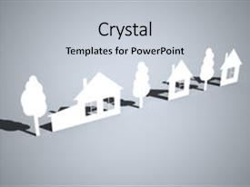 <b>Crystal</b> PowerPoint template with paper houses and trees themed background and a light gray colored foreground design featuring a [design description].