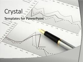 Presentation theme consisting of pen on financial charts background and a white colored foreground.