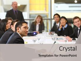 <b>Crystal</b> PowerPoint template with people in board room meeting themed background and a light gray colored foreground design featuring a [design description].