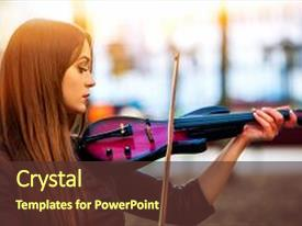 <b>Crystal</b> PowerPoint template with performing jazz on city street themed background and a tawny brown colored foreground design featuring a [design description].