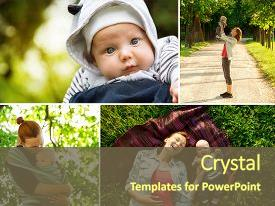 <b>Crystal</b> PowerPoint template with photos mother and baby themed background and a tawny brown colored foreground design featuring a [design description].