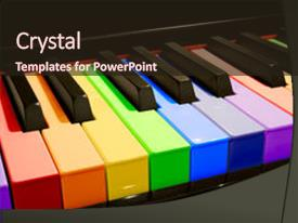 Slide deck with piano keys in the colors background and a wine colored foreground.