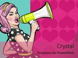 Women rights powerpoint templates crystalgraphics presentation with pop art girl with megaphone background and a coral colored foreground toneelgroepblik Image collections