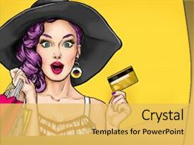 Comic powerpoint templates crystalgraphics crystal powerpoint template with comic pop art girl with shopping themed background and a yellow toneelgroepblik Image collections
